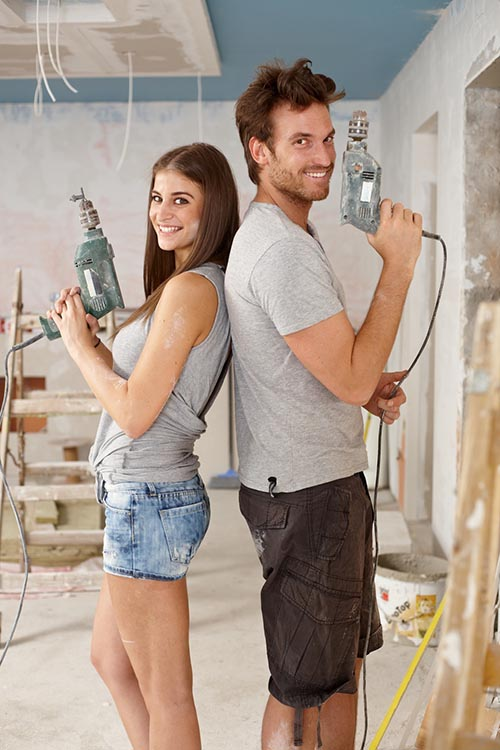 Happy couple doing DIY