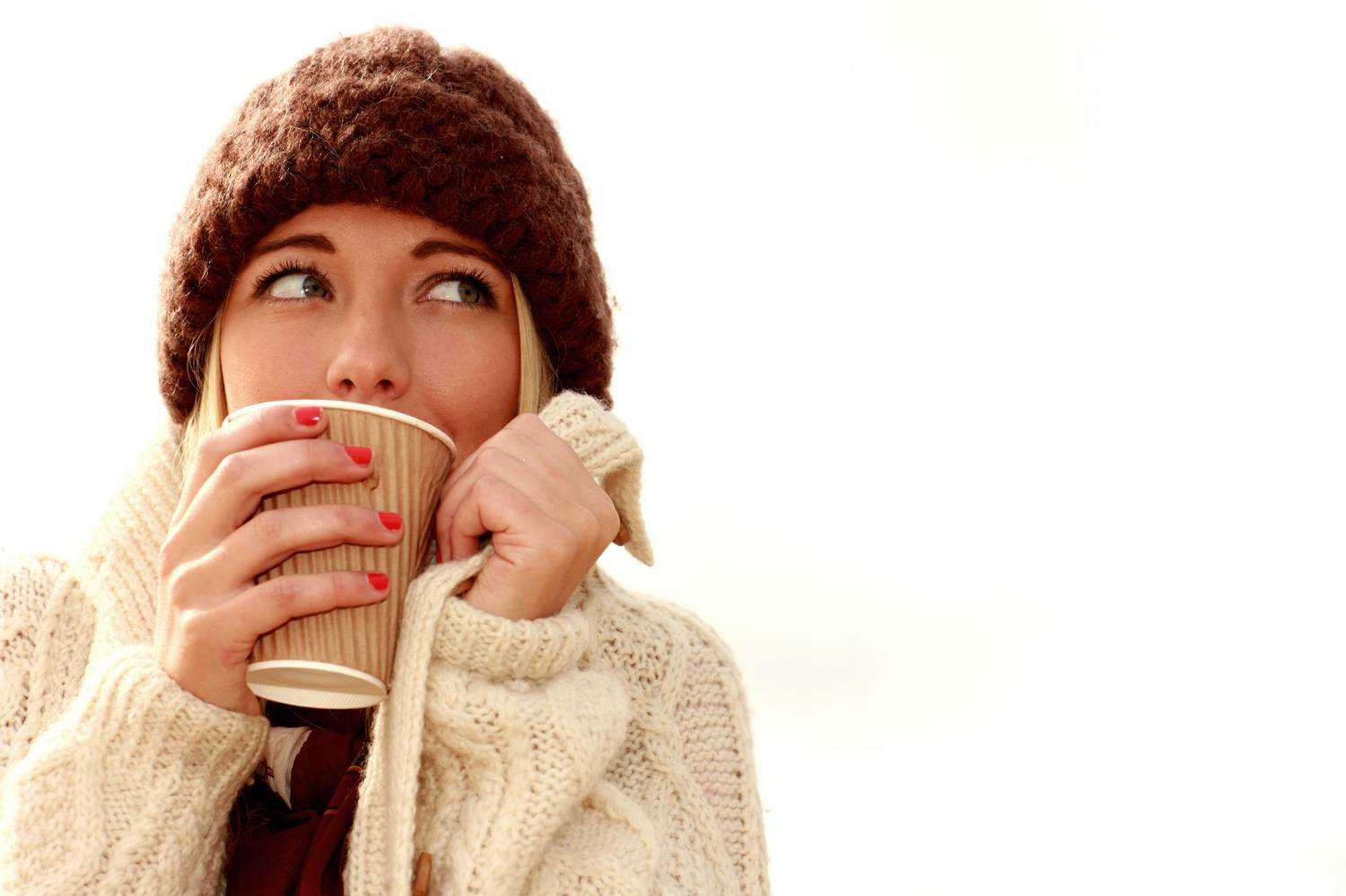 Cold Woman Drinking Coffee.