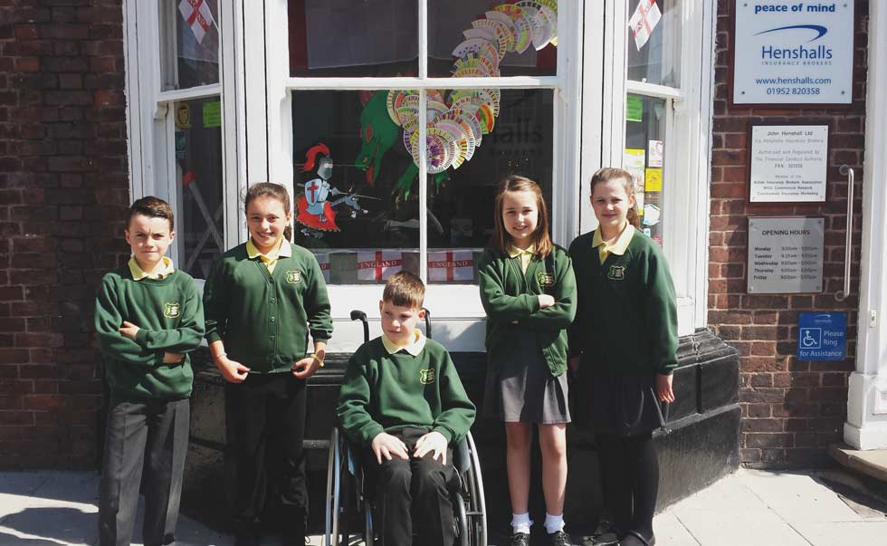 High Risk Car Insurance >> Henshalls Insurance Brokers - Newport Junior school decorate our window for St Georges Day
