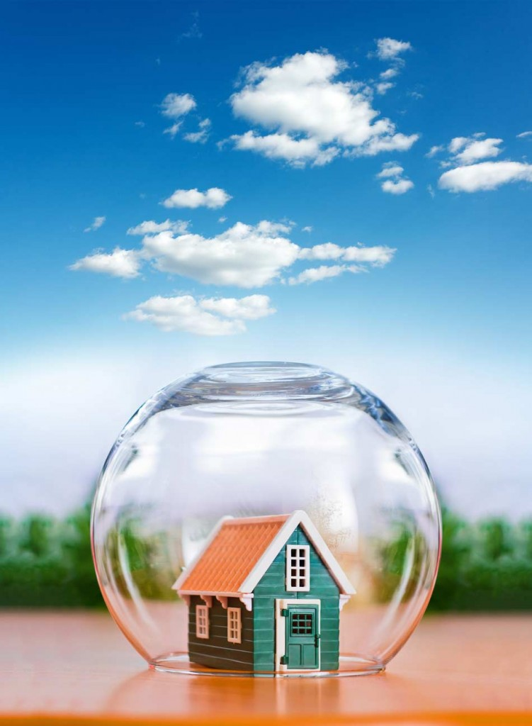 Home protected in a glass sphere