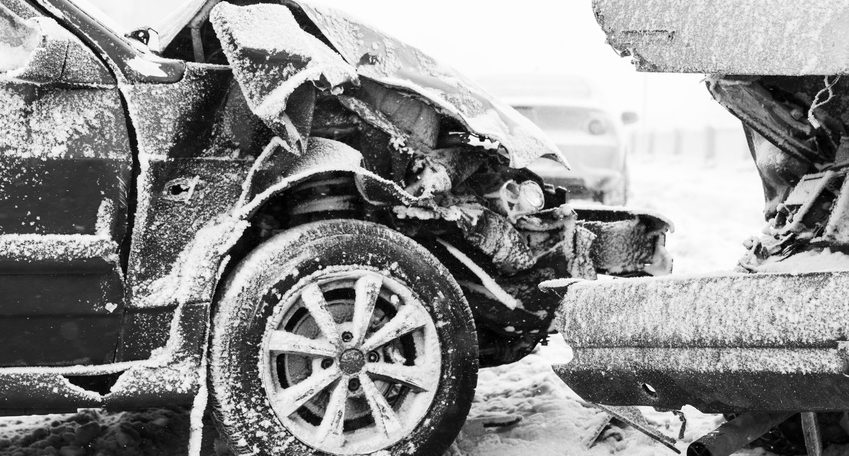 Car crash accident on winter road with snow